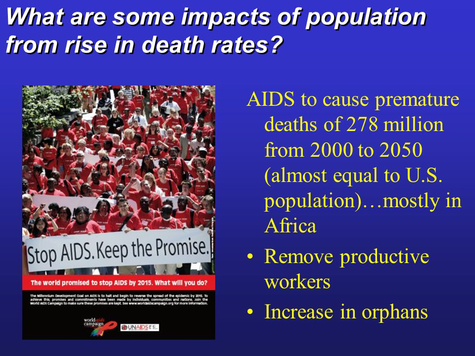 What are some impacts of population from rise in death rates.