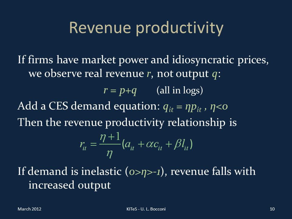Revenue productivity If firms have market power and idiosyncratic prices, we observe real revenue r, not output q: r = p+q (all in logs) Add a CES demand equation: q it = ηp it, η<0 Then the revenue productivity relationship is If demand is inelastic (0>η>-1), revenue falls with increased output March 2012KITeS - U.