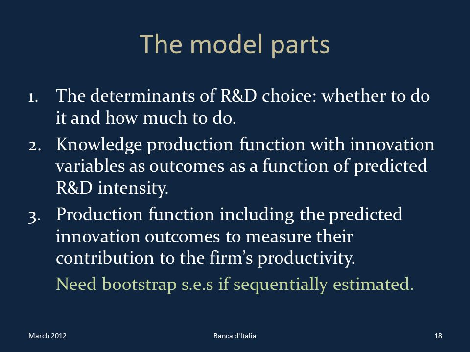 The model parts 1.The determinants of R&D choice: whether to do it and how much to do.