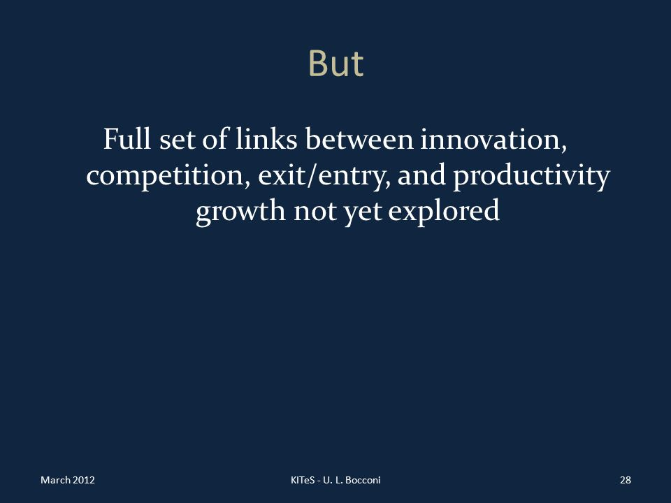 But Full set of links between innovation, competition, exit/entry, and productivity growth not yet explored March 2012KITeS - U.