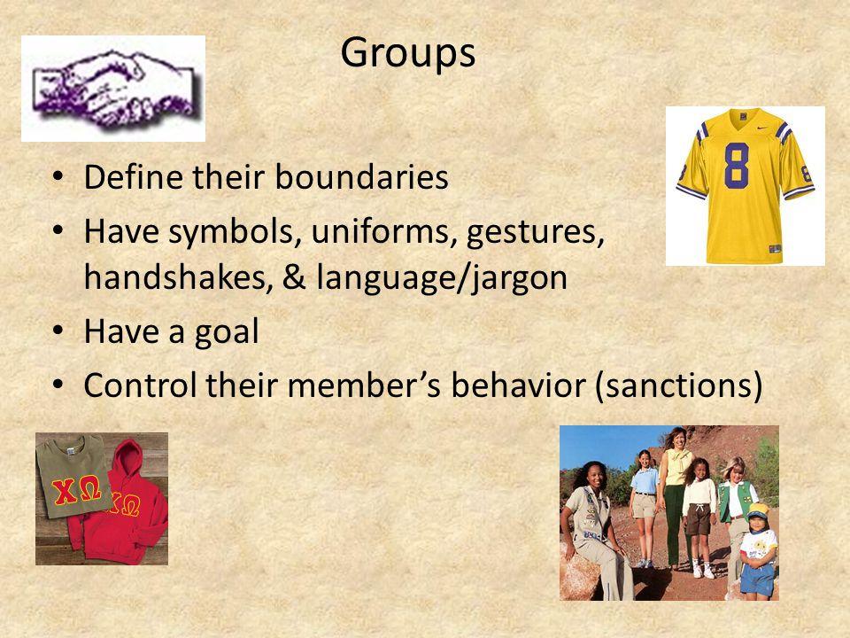 Groups Define their boundaries Have symbols, uniforms, gestures, handshakes, & language/jargon Have a goal Control their member's behavior (sanctions)