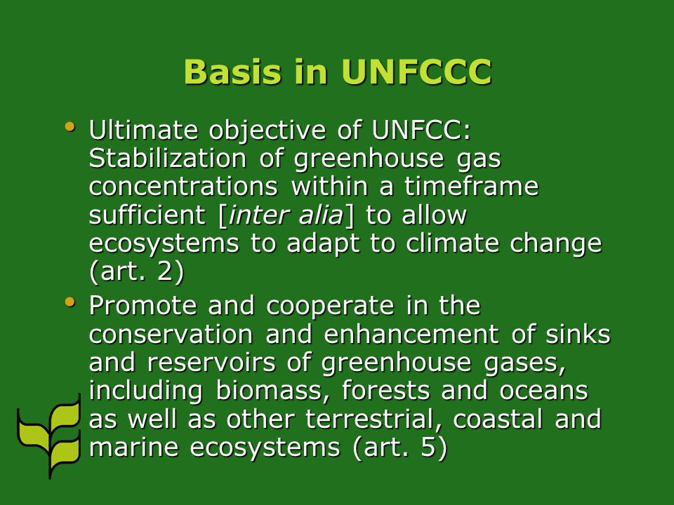 Basis in UNFCCC Ultimate objective of UNFCC: Stabilization of greenhouse gas concentrations within a timeframe sufficient [inter alia] to allow ecosystems to adapt to climate change (art.