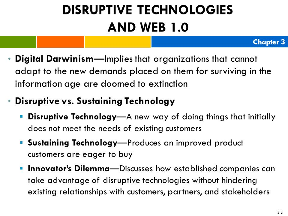 Chapter 3 3-3 DISRUPTIVE TECHNOLOGIES AND WEB 1.0 Digital Darwinism—Implies that organizations that cannot adapt to the new demands placed on them for
