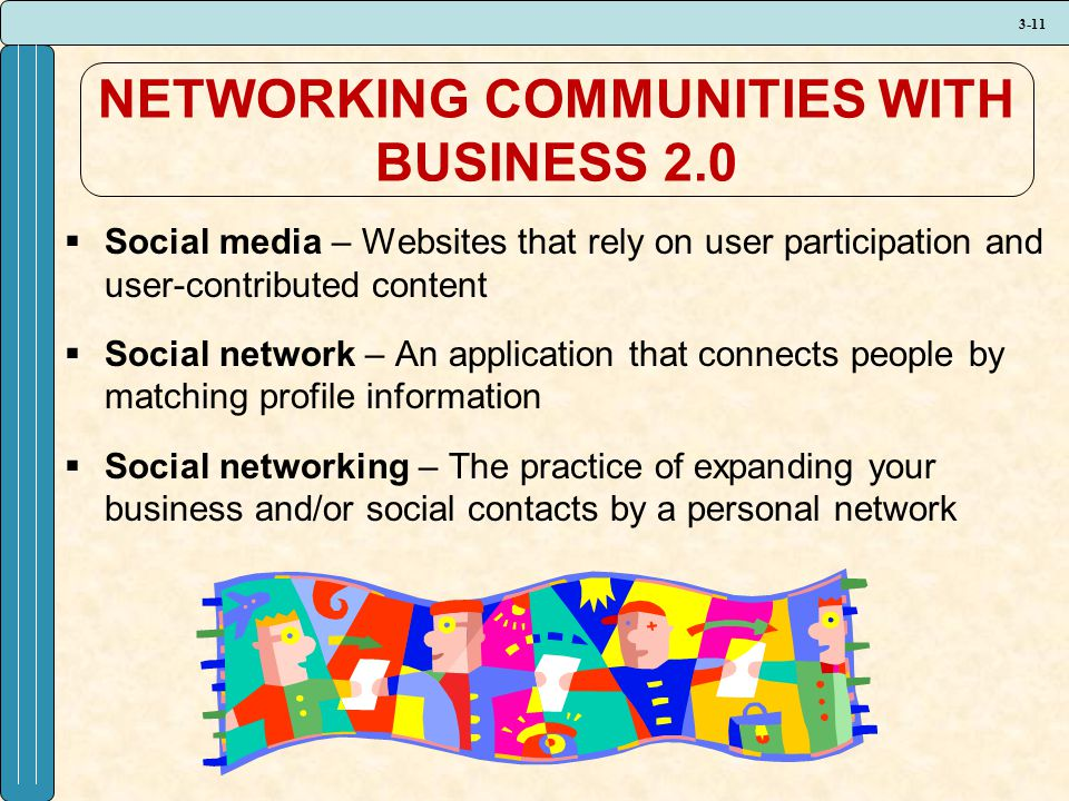3-11 NETWORKING COMMUNITIES WITH BUSINESS 2.0  Social media – Websites that rely on user participation and user-contributed content  Social network