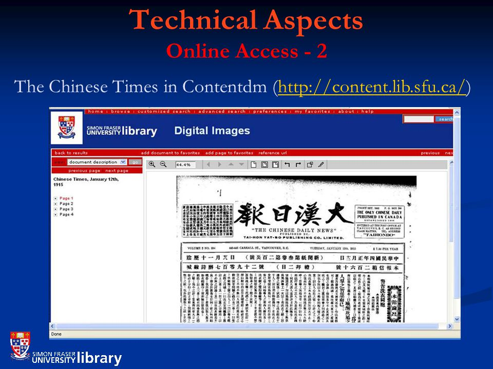 Technical Aspects Online Access - 2 The Chinese Times in Contentdm (