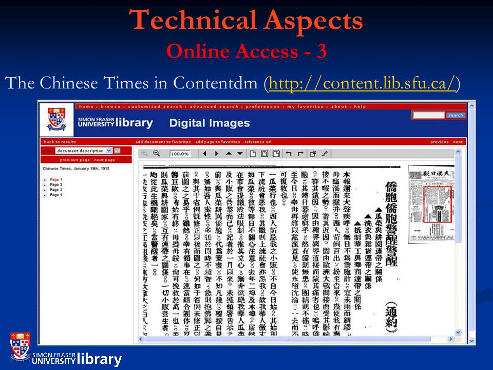 Technical Aspects Online Access - 3 The Chinese Times in Contentdm (