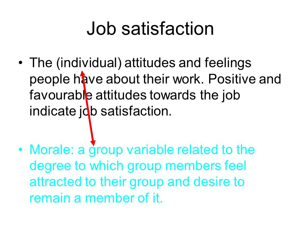 The (individual) attitudes and feelings people have about their work. Positive and favourable attitudes towards the job indicate job satisfaction. Mor