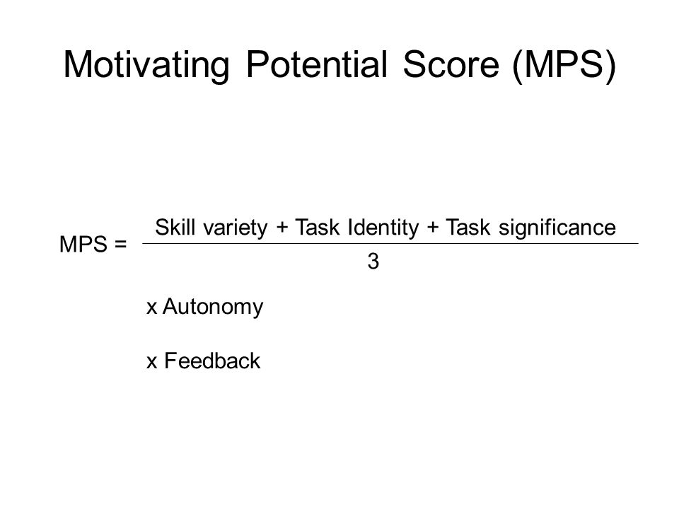 Motivating Potential Score (MPS) MPS = Skill variety + Task Identity + Task significance 3 x Autonomy x Feedback