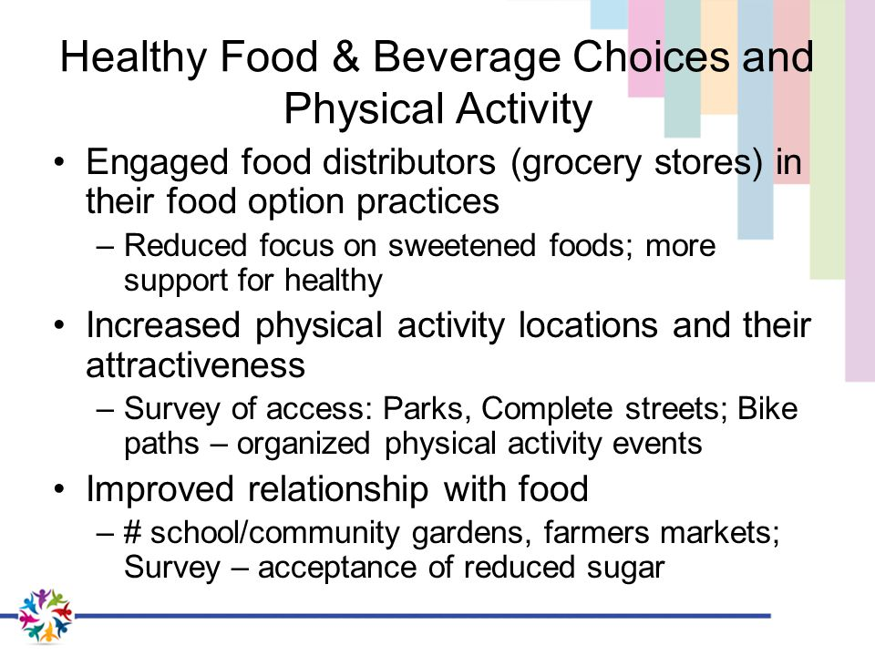 Healthy Food & Beverage Choices and Physical Activity Engaged food distributors (grocery stores) in their food option practices –Reduced focus on sweetened foods; more support for healthy Increased physical activity locations and their attractiveness –Survey of access: Parks, Complete streets; Bike paths – organized physical activity events Improved relationship with food –# school/community gardens, farmers markets; Survey – acceptance of reduced sugar
