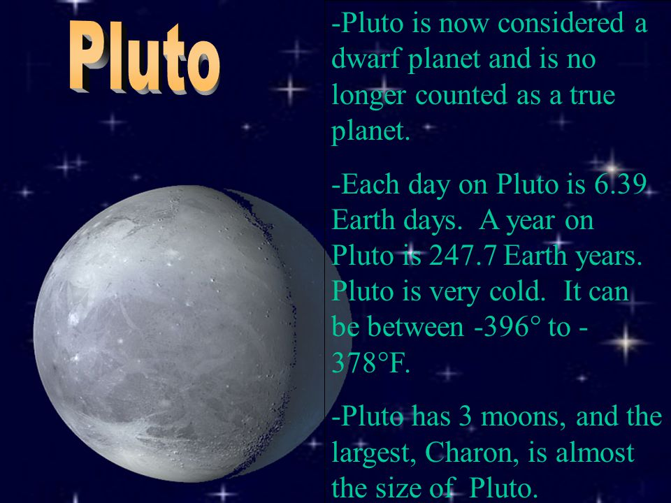 -Pluto is now considered a dwarf planet and is no longer counted as a true planet.