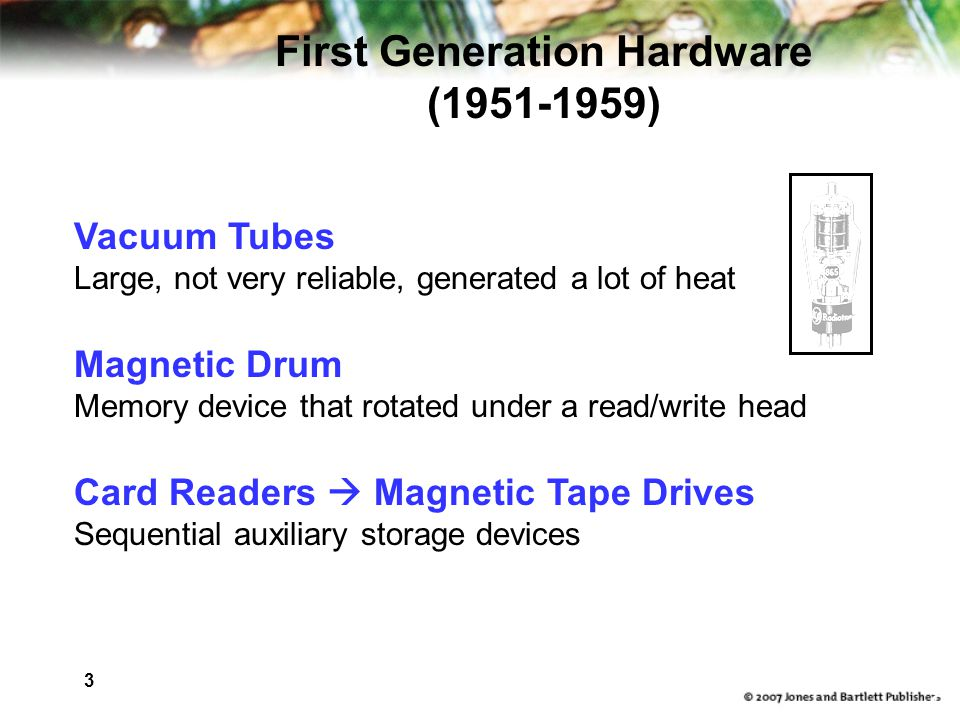 3 8 Vacuum Tubes Large, not very reliable, generated a lot of heat Magnetic Drum Memory device that rotated under a read/write head Card Readers  Magnetic Tape Drives Sequential auxiliary storage devices First Generation Hardware ( )