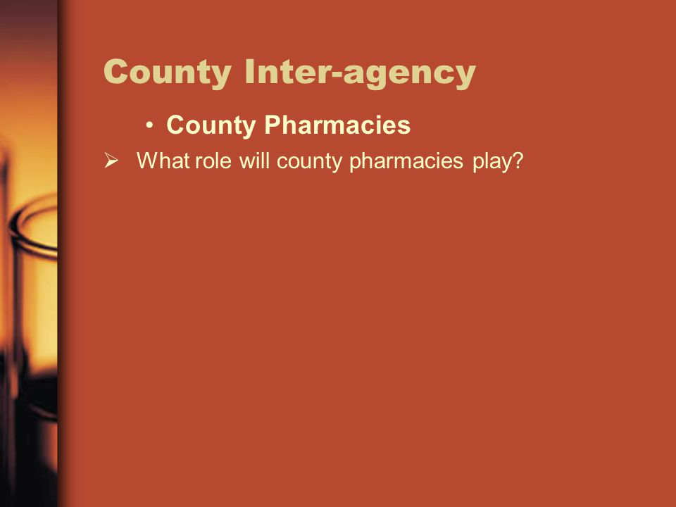 County Inter-agency County Pharmacies  What role will county pharmacies play