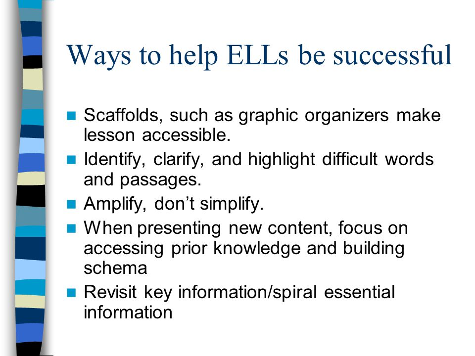 Ways to help ELLs be successful Scaffolds, such as graphic organizers make lesson accessible.