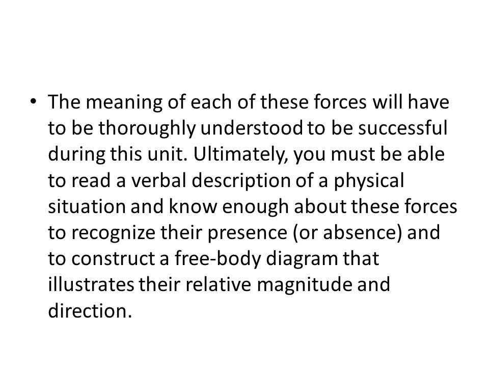 The meaning of each of these forces will have to be thoroughly understood to be successful during this unit.