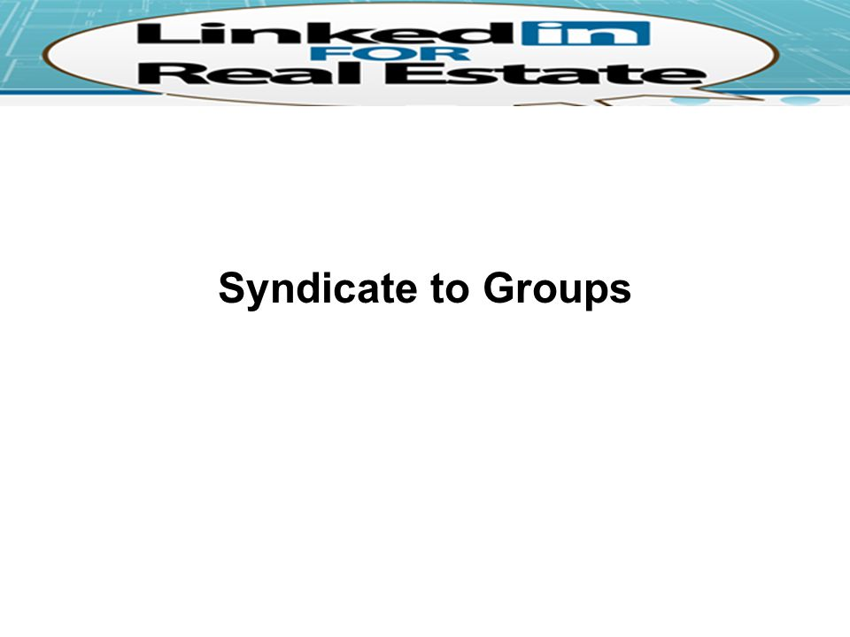 Syndicate to Groups