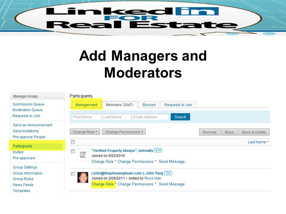 Add Managers and Moderators