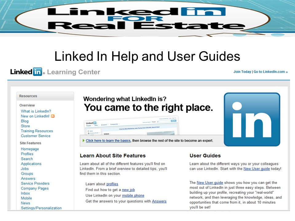 Linked In Help and User Guides