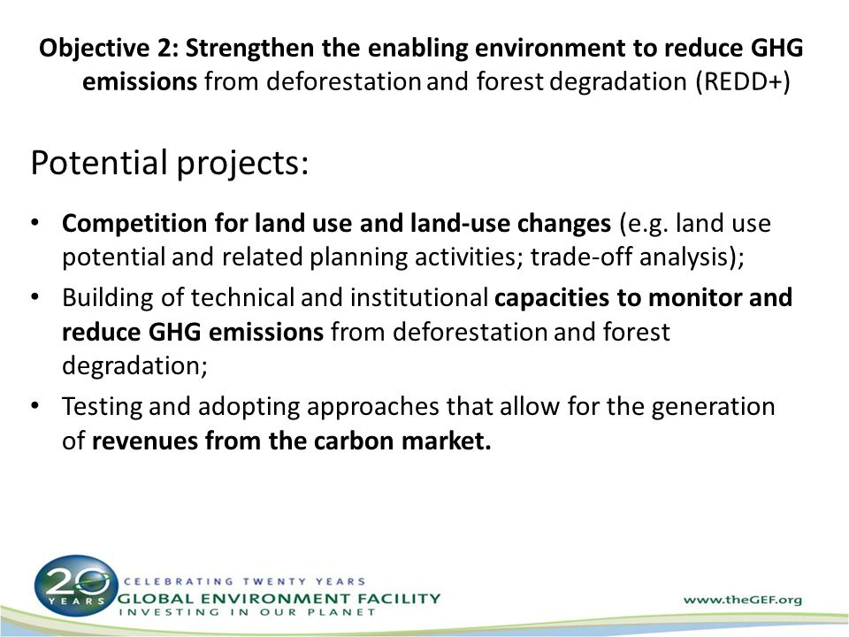Objective 2: Strengthen the enabling environment to reduce GHG emissions from deforestation and forest degradation (REDD+) Potential projects: Competition for land use and land-use changes (e.g.