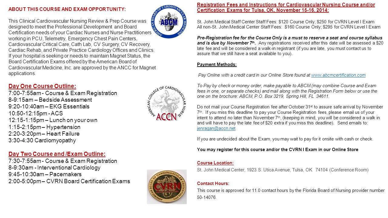 Mark your calendar reserve your seat and tell your colleagues about this course and exam opportunity this clinical cardiovascular nursing review prep course was 1betcityfo Images
