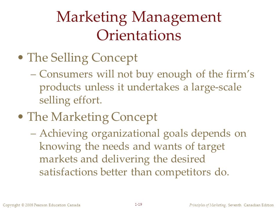 Copyright © 2008 Pearson Education CanadaPrinciples of Marketing, Seventh Canadian Edition 1-19 Marketing Management Orientations The Selling Concept –Consumers will not buy enough of the firm's products unless it undertakes a large-scale selling effort.