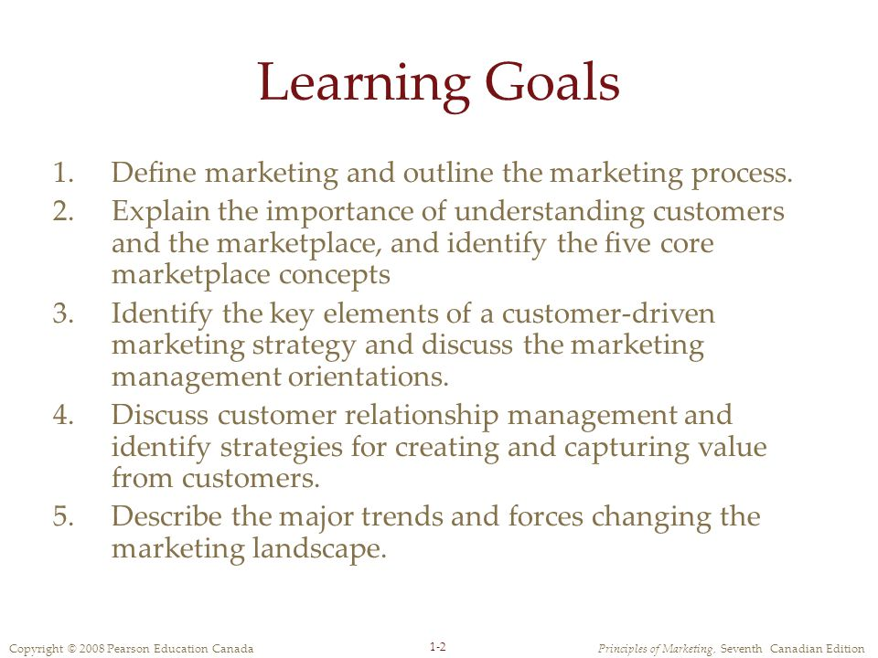 Copyright © 2008 Pearson Education CanadaPrinciples of Marketing, Seventh Canadian Edition 1-2 Learning Goals 1.Define marketing and outline the marketing process.
