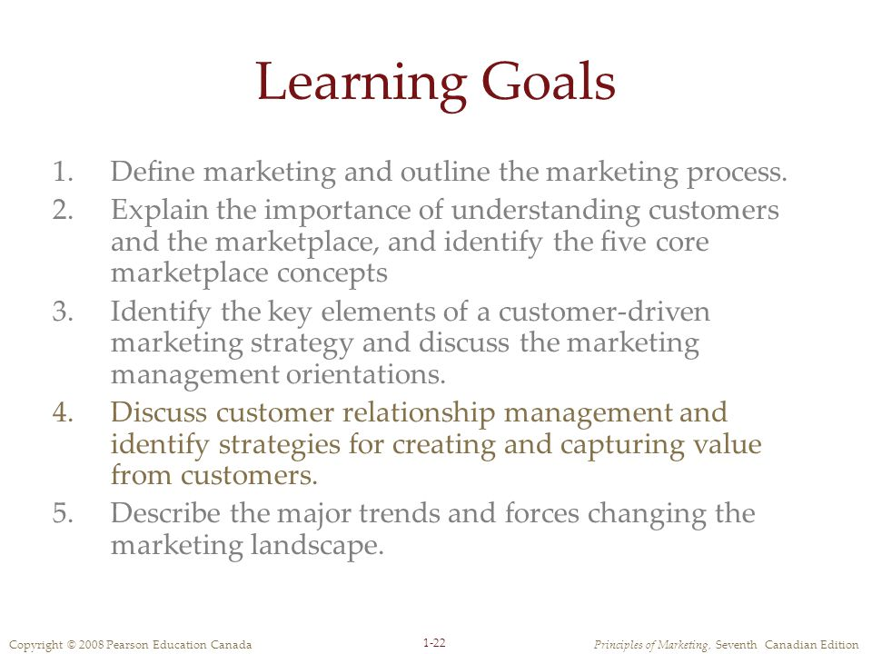 Copyright © 2008 Pearson Education CanadaPrinciples of Marketing, Seventh Canadian Edition 1-22 Learning Goals 1.Define marketing and outline the marketing process.