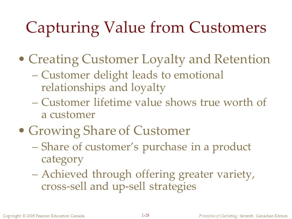 Copyright © 2008 Pearson Education CanadaPrinciples of Marketing, Seventh Canadian Edition 1-28 Capturing Value from Customers Creating Customer Loyalty and Retention –Customer delight leads to emotional relationships and loyalty –Customer lifetime value shows true worth of a customer Growing Share of Customer –Share of customer's purchase in a product category –Achieved through offering greater variety, cross-sell and up-sell strategies