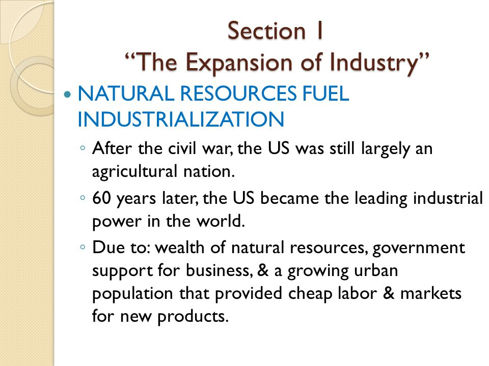 Industrialization in the south after the civil war