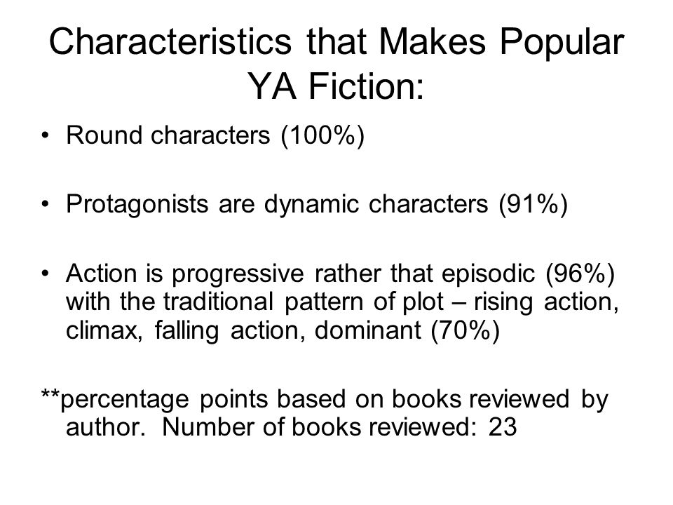 Characteristics that Makes Popular YA Fiction: Round characters (100%) Protagonists are dynamic characters (91%) Action is progressive rather that episodic (96%) with the traditional pattern of plot – rising action, climax, falling action, dominant (70%) **percentage points based on books reviewed by author.
