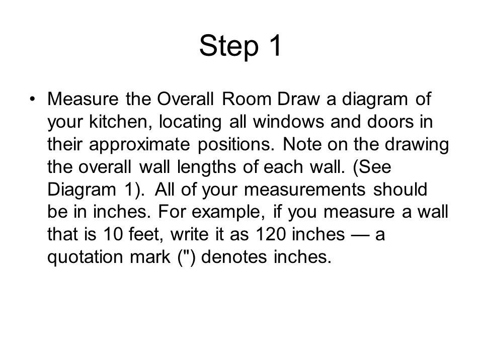 Step 1 Measure The Overall Room Draw A Diagram Of Your Kitchen, Locating  All Windows
