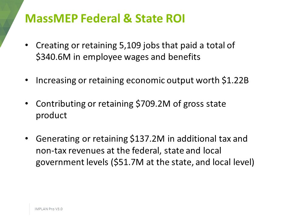 MassMEP Federal & State ROI IMPLAN Pro V3.0 Creating or retaining 5,109 jobs that paid a total of $340.6M in employee wages and benefits Increasing or retaining economic output worth $1.22B Contributing or retaining $709.2M of gross state product Generating or retaining $137.2M in additional tax and non-tax revenues at the federal, state and local government levels ($51.7M at the state, and local level)