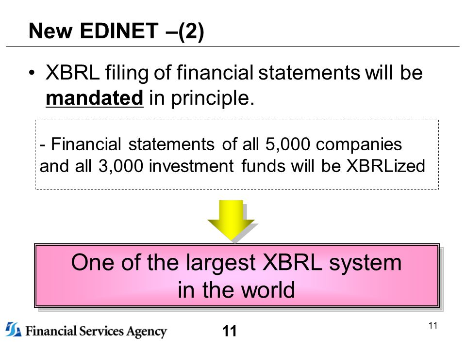 11 New EDINET –(2) XBRL filing of financial statements will be mandated in principle.
