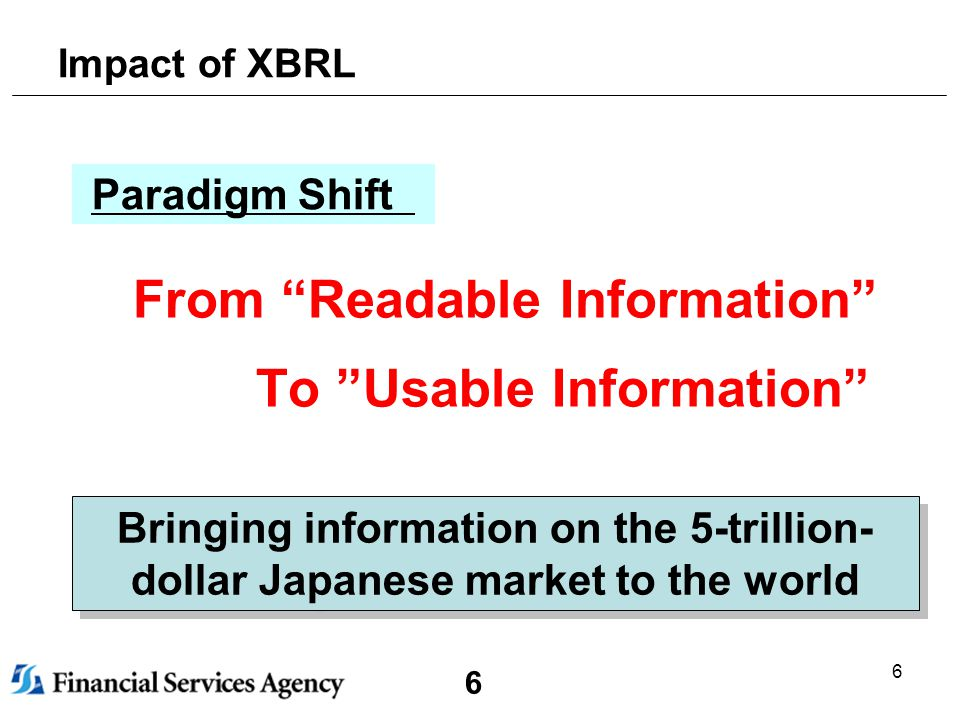 6 6 Impact of XBRL From Readable Information To Usable Information Bringing information on the 5-trillion- dollar Japanese market to the world Paradigm Shift