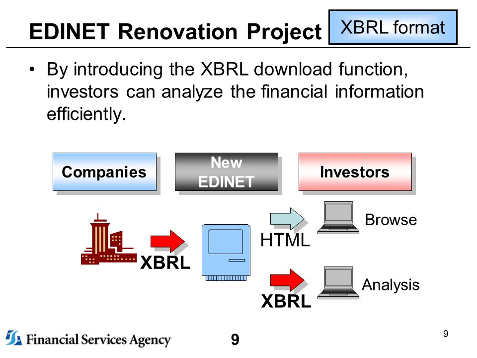 9 9 EDINET Renovation Project By introducing the XBRL download function, investors can analyze the financial information efficiently.