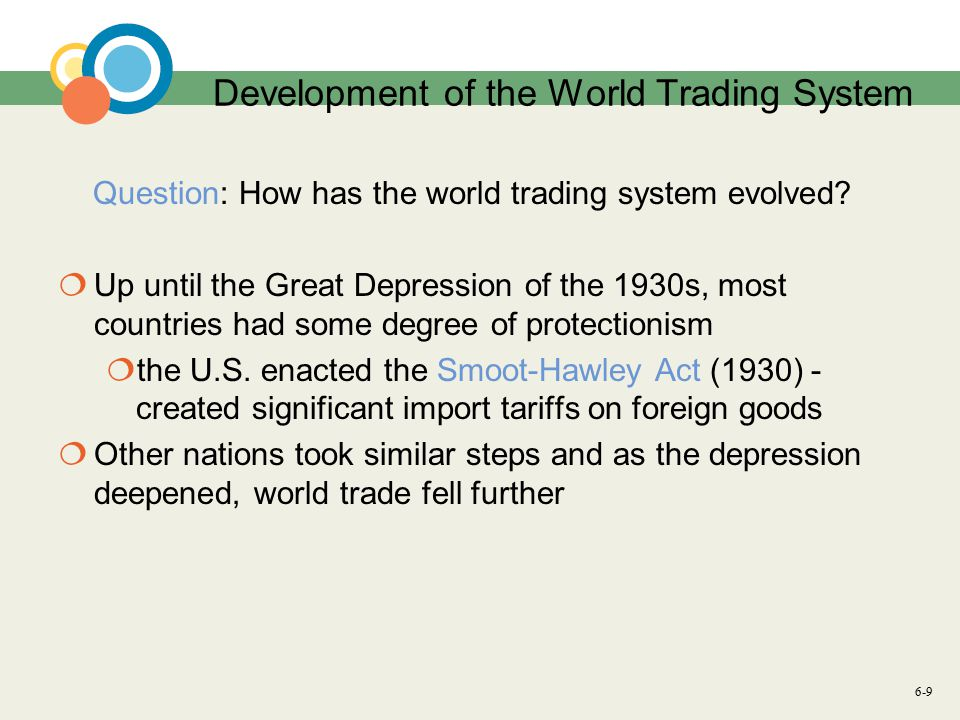 6-9 Development of the World Trading System Question: How has the world trading system evolved.