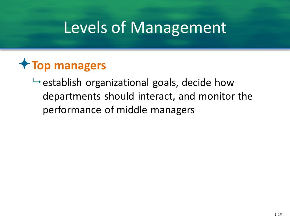 1-10 Levels of Management  Top managers  establish organizational goals, decide how departments should interact, and monitor the performance of midd