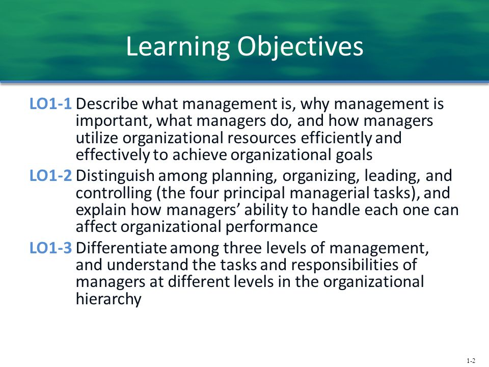 1-2 Learning Objectives LO1-1 Describe what management is, why management is important, what managers do, and how managers utilize organizational reso