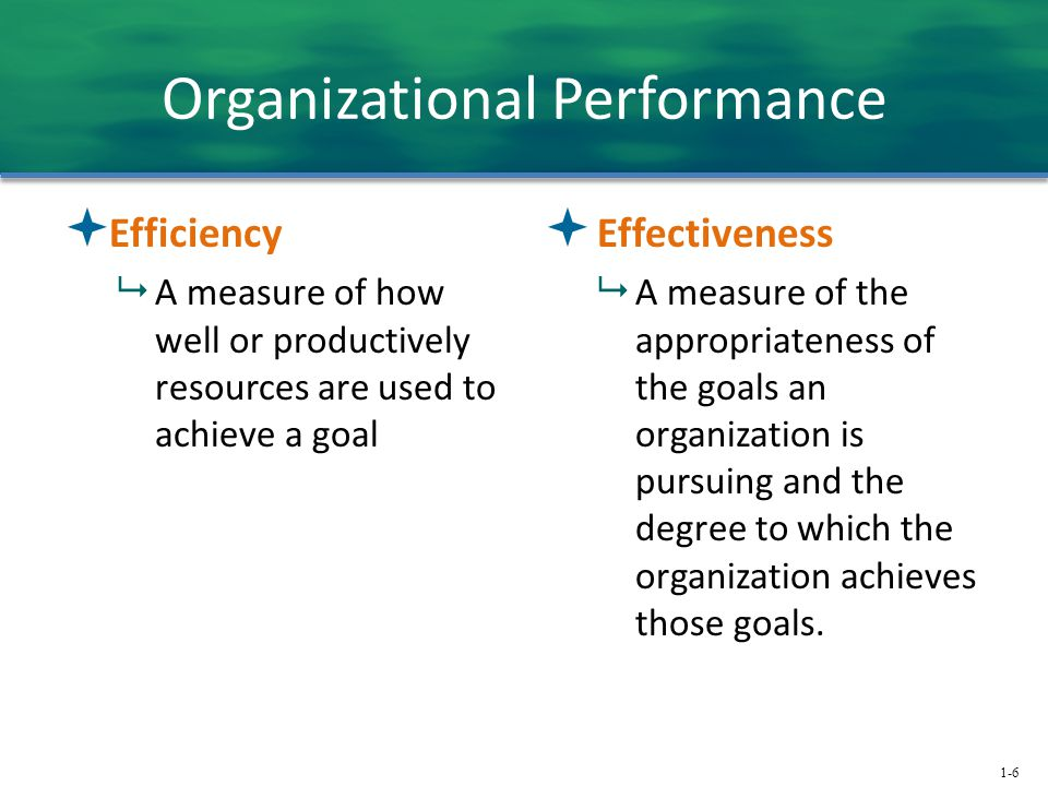 1-6 Organizational Performance  Efficiency  A measure of how well or productively resources are used to achieve a goal  Effectiveness  A measure o