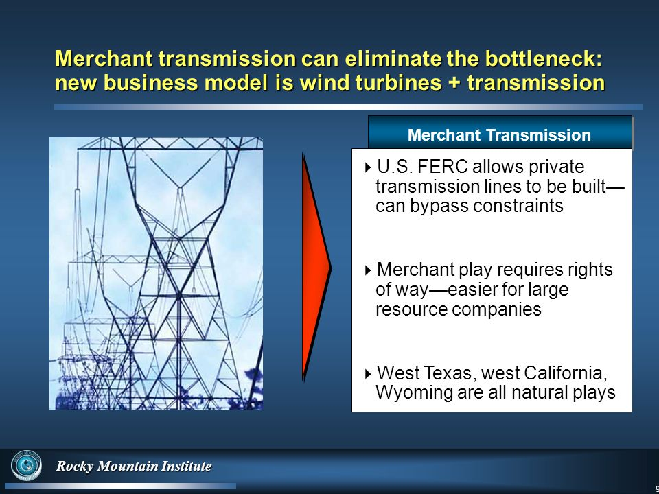 9 Rocky Mountain Institute 9 Merchant transmission can eliminate the bottleneck: new business model is wind turbines + transmission Merchant Transmission  U.S.