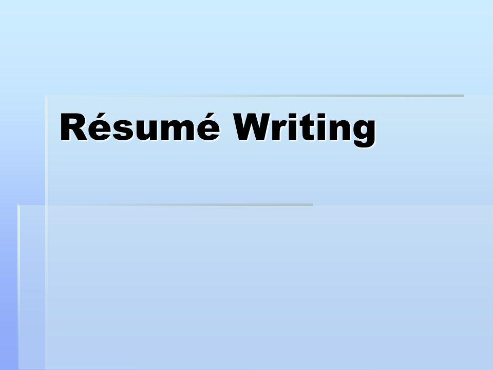 1 Résumé Writing