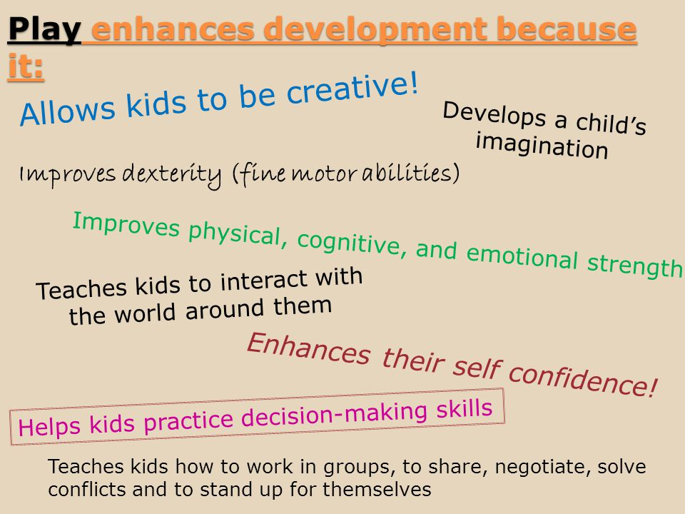 Play enhances development because it: Allows kids to be creative.
