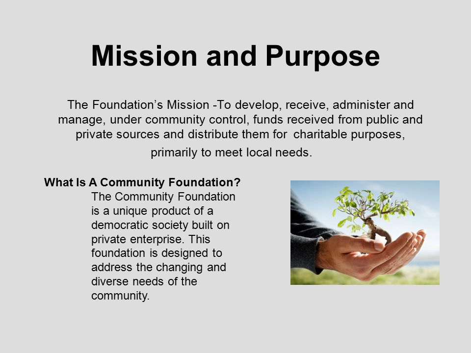 Mission and Purpose The Foundation's Mission -To develop, receive, administer and manage, under community control, funds received from public and private sources and distribute them for charitable purposes, primarily to meet local needs.
