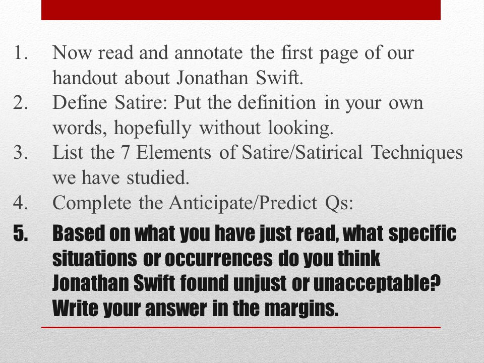 A Modest Proposal By Jonathan Swift What Specific Situations Or