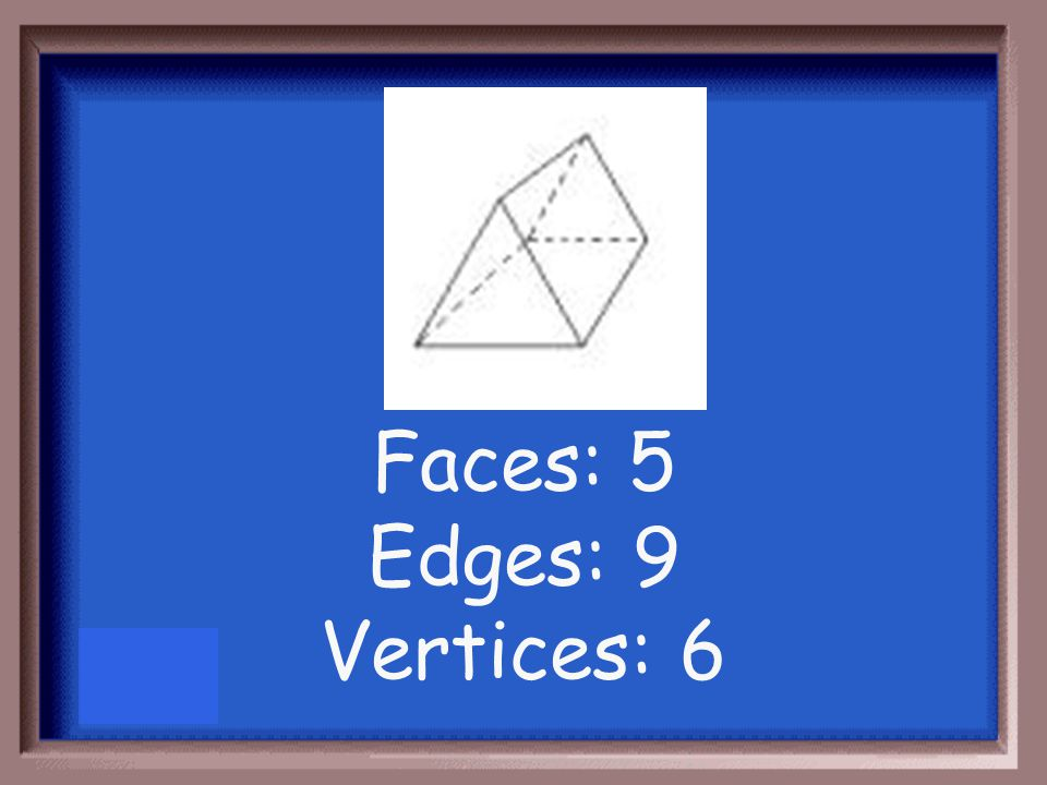 Count the number of faces, edges, and vertices of the figure below: