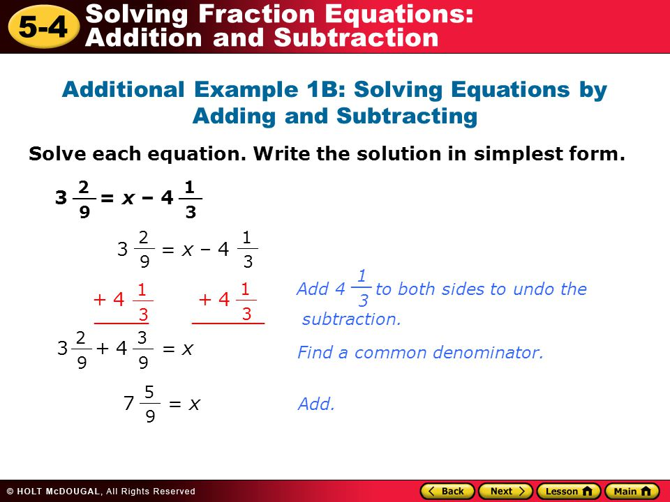Problem Solving Involving Fractions