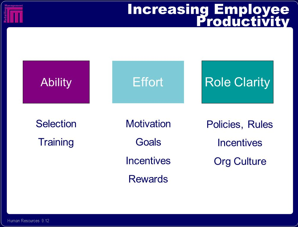 Human Resources 9.12 Increasing Employee Productivity Ability EffortRole Clarity Selection Training Motivation Goals Incentives Rewards Policies, Rules Incentives Org Culture