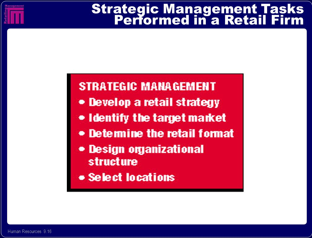 Human Resources 9.16 Strategic Management Tasks Performed in a Retail Firm