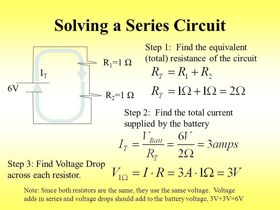 Solving a Series Circuit 6V R 1 =1 Ω R 2 =1 Ω ITIT Step 1: Find the equivalent (total) resistance of the circuit Step 2: Find the total current supplied by the battery Step 3: Find Voltage Drop across each resistor.