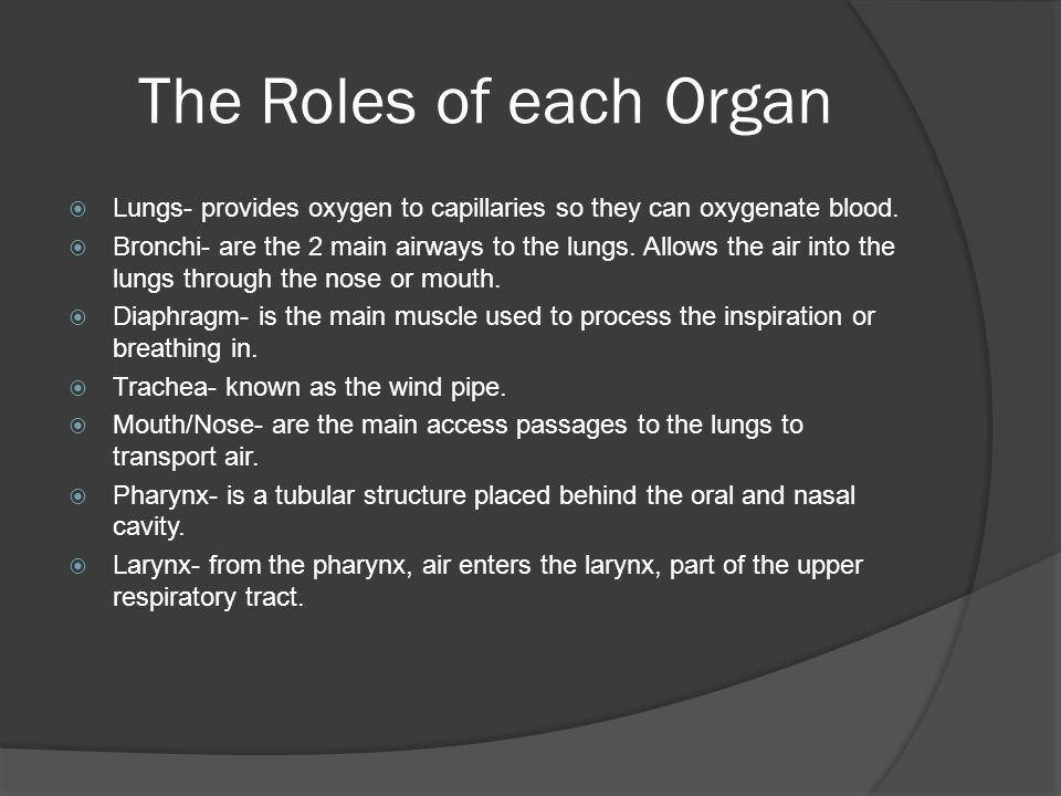 The Roles of each Organ  Lungs- provides oxygen to capillaries so they can oxygenate blood.