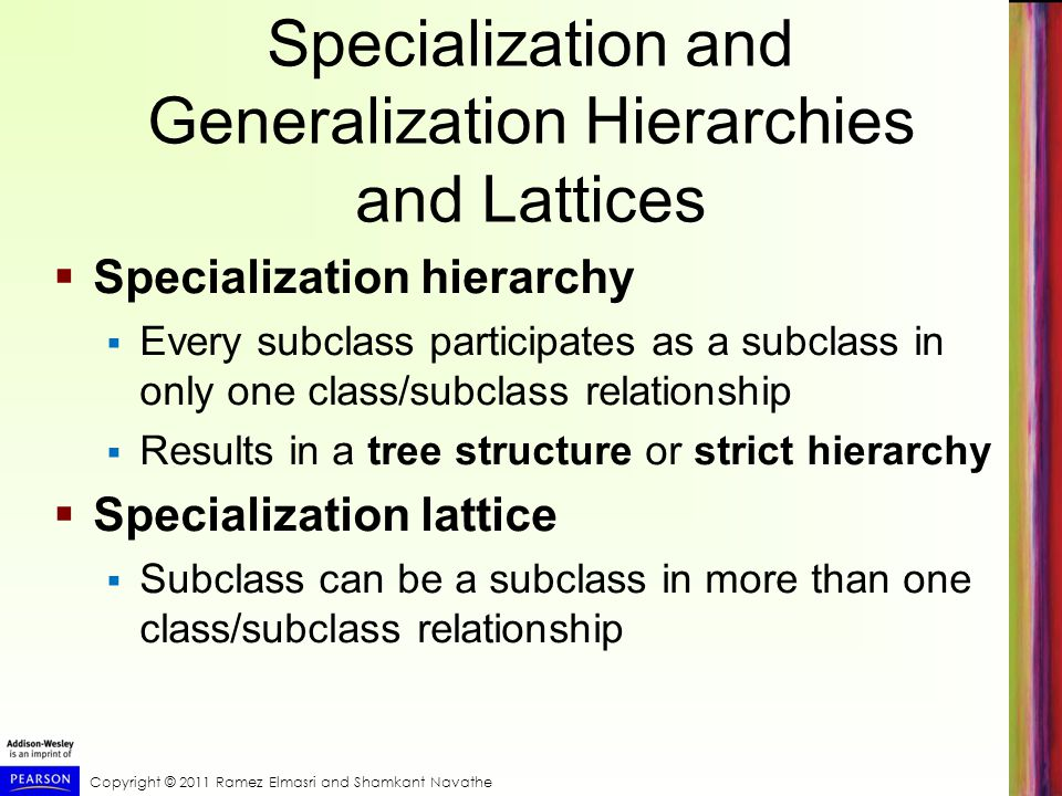 Copyright © 2011 Ramez Elmasri and Shamkant Navathe Specialization and Generalization Hierarchies and Lattices  Specialization hierarchy  Every subclass participates as a subclass in only one class/subclass relationship  Results in a tree structure or strict hierarchy  Specialization lattice  Subclass can be a subclass in more than one class/subclass relationship